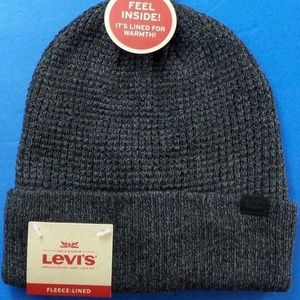 Levi's Men's Logo Beanie Hat Charcoal Fleece Lined